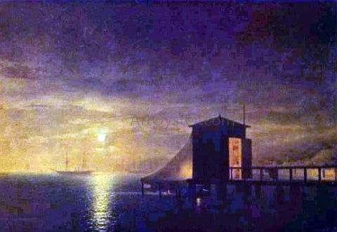 Ivan Constantinovich Aivazovsky Moonlit Night, A Bathing Hut in Feodosia - Hand Painted Oil Painting