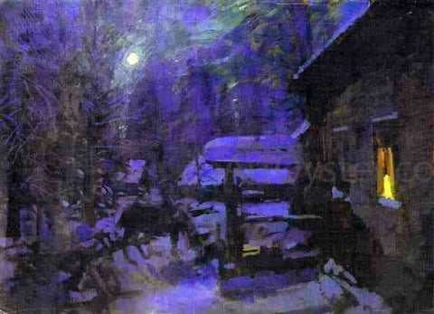 Constantin Alexeevich Korovin Moonlit night, Winter - Hand Painted Oil Painting
