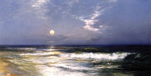 Thomas Moran Moonlit Seascape - Hand Painted Oil Painting
