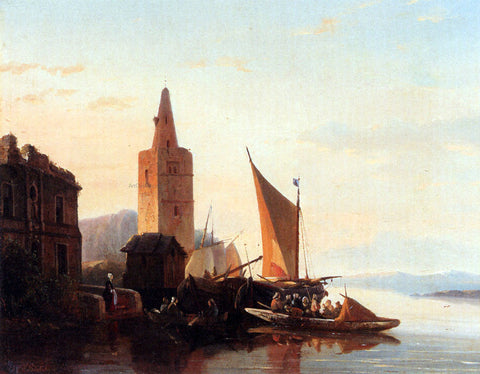 Francois-Jean-Louis Boulanger Moored Shipping By A Lighthouse - Hand Painted Oil Painting