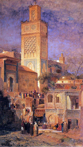 Jr. Samuel Colman Moorish Mosque of Sidi Halou Tlemcin [Tlemcen], Algeria - Hand Painted Oil Painting