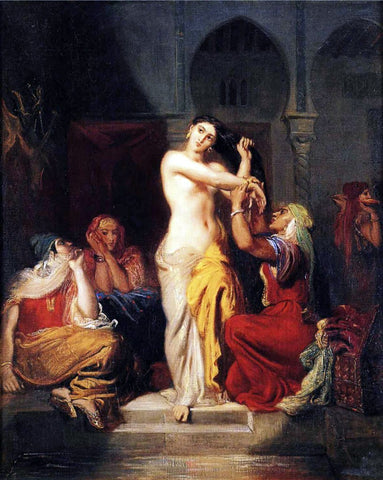 Theodore Chasseriau Moorish Woman Leaving the Bath in the Seraglio - Hand Painted Oil Painting
