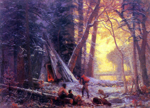 Albert Bierstadt Moose Hunters' Camp - Hand Painted Oil Painting