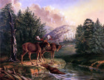 II Titian Ramsey Peale Moose in Maine - Hand Painted Oil Painting