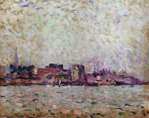 Theo Van Rysselberghe Morning Fog over the Port of Veer, Holland - Hand Painted Oil Painting
