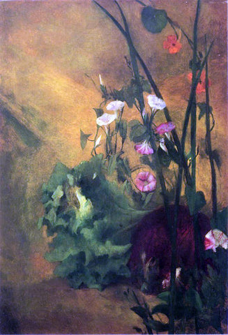 John La Farge Morning Glories and Eggplant - Hand Painted Oil Painting