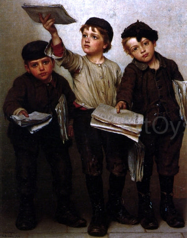 John George Brown Morning Papers - Hand Painted Oil Painting