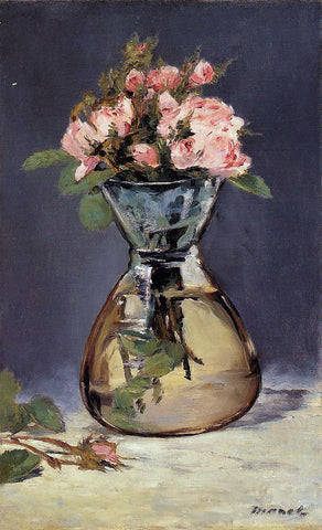 Edouard Manet Mosee Roses in a Vase - Hand Painted Oil Painting
