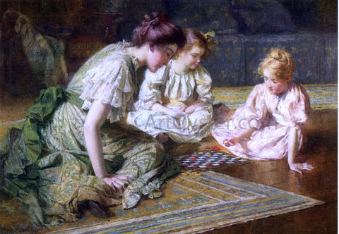 Francis Coates Jones Mother and Daughters Playing Chess - Hand Painted Oil Painting