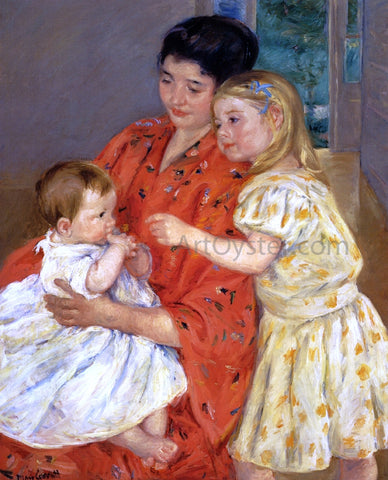 Mary Cassatt Mother and Sara Admiring the Baby - Hand Painted Oil Painting