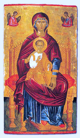 Andreas Ritzos Mother of God Enthroned - Hand Painted Oil Painting