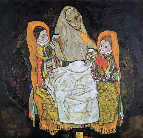 Egon Schiele Mother with Two Children - Hand Painted Oil Painting