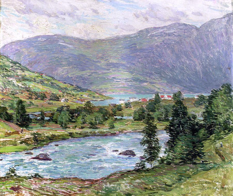 Willard Leroy Metcalf Mountain Lakes, Olden, Norwas - Hand Painted Oil Painting