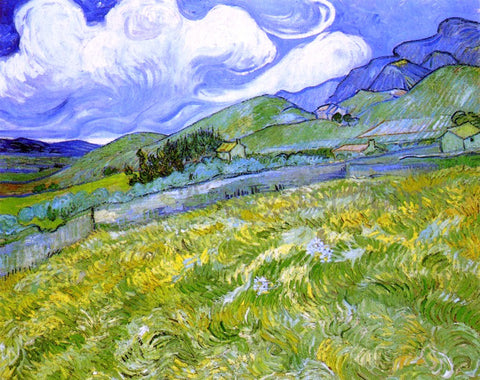 Vincent Van Gogh Mountain Landscape behind Saint-Paul Hospital - Hand Painted Oil Painting