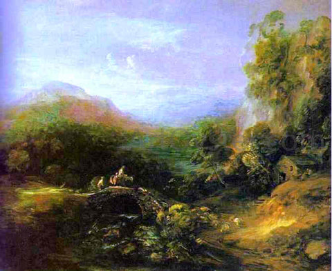 Thomas Gainsborough Mountain Landscape with Peasants Crossing a Bridge - Hand Painted Oil Painting