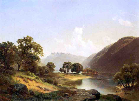 Paul Weber Mountain Landscape with River, Near Philadelphia - Hand Painted Oil Painting