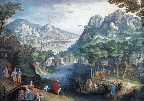 Gillis Van Coninxloo Mountain Landscape with River Valley and the Prophet Hosea - Hand Painted Oil Painting