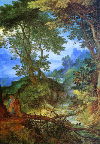 The Elder Jan Bruegel Mountain Landscape with the Temptation of Christ - Hand Painted Oil Painting