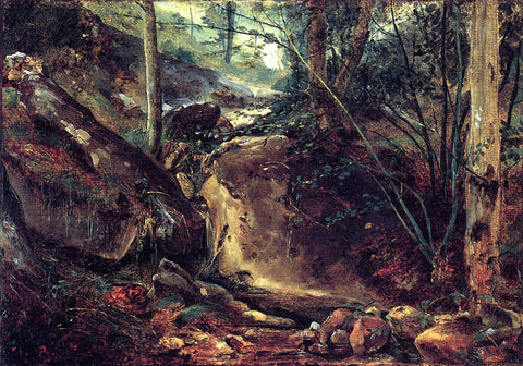 Theodore Rousseau Mountain Stream in the Auverne - Hand Painted Oil Painting
