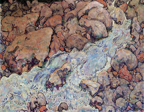 Egon Schiele Mountain Torrent - Hand Painted Oil Painting
