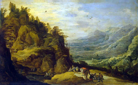 Joos De Momper Mountainous Landscape with Figures and a Donkey - Hand Painted Oil Painting