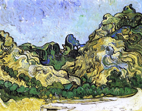 Vincent Van Gogh Mountains at Saint-Remy with Dark Cottage - Hand Painted Oil Painting