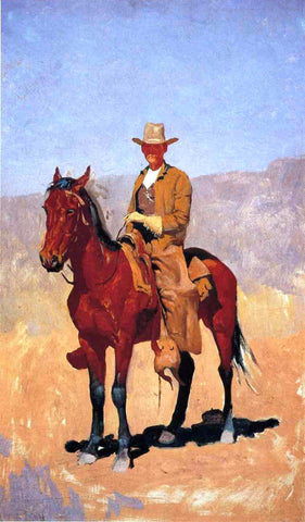 Frederic Remington Mounted Cowboy in Chaps with Race Horse - Hand Painted Oil Painting