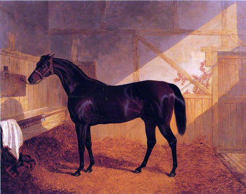 "Sr. John Frederick Herring Mr. Johnstone's ""Charles XII"" in a Stable - Hand Painted Oil Painting"