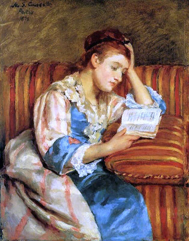 Mary Cassatt Mrs. Duffee Seated on a Striped Sofa, Reading - Hand Painted Oil Painting