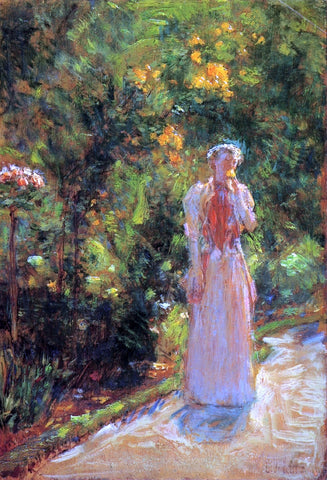 Frederick Childe Hassam Mrs. Hassam in the Garden - Hand Painted Oil Painting