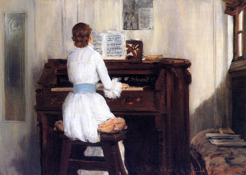 William Merritt Chase Mrs. Meigs at the Piano Organ - Hand Painted Oil Painting