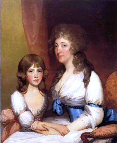 Gilbert Stuart Mrs. Samuel Dick and Daughter Charlotte Anna - Hand Painted Oil Painting