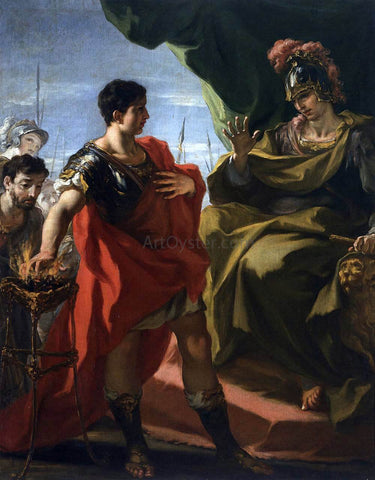 Giovanni Antonio Pellegrini Mucius Scaevola Before Porsenna - Hand Painted Oil Painting