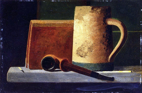 John Frederick Peto Mug, Pipe and Book in Window Ledge - Hand Painted Oil Painting