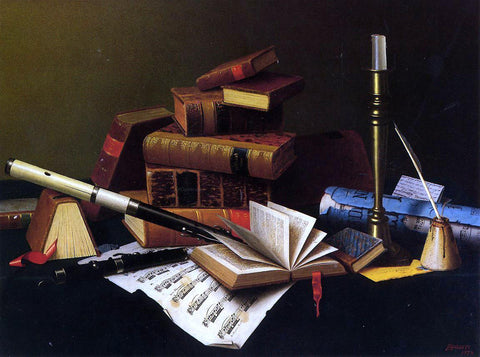 William Michael Harnett Music and Literature - Hand Painted Oil Painting