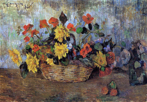Paul Gauguin Nasturtiums and Dahlias in a Basket - Hand Painted Oil Painting