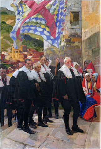 Joaquin Sorolla Y Bastida Navarre, the Town Council of Roncal - Hand Painted Oil Painting