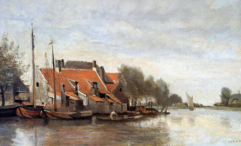 Jean-Baptiste-Camille Corot Near Rotterdam, Small Houses on the Banks of a Canal - Hand Painted Oil Painting