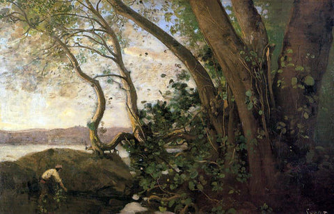 Jean-Baptiste-Camille Corot Nemi, the Lake's Edge - Hand Painted Oil Painting