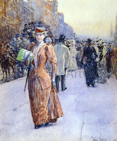 Frederick Childe Hassam New York Street Scene - Hand Painted Oil Painting
