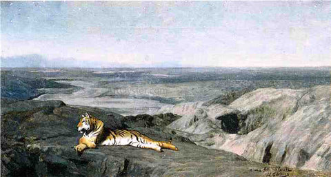 Jean-Leon Gerome Night on the Desert (study) (also known as Tiger Resting in the Moonlight) - Hand Painted Oil Painting