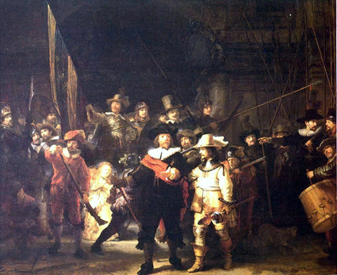 Rembrandt Van Rijn Night Watch (also known as The Company of Frans Banning Cocq and Willem van Ruytenburch) - Hand Painted Oil Painting