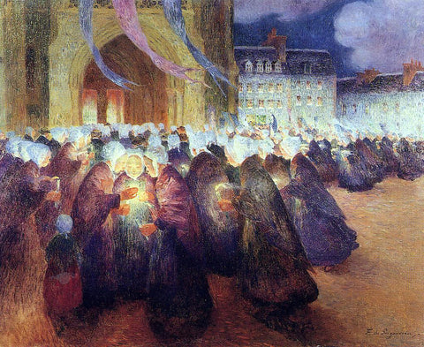 Ferdinand Du Puigaudeau Nighttime Procession at Saint-Pol-de-Leon - Hand Painted Oil Painting
