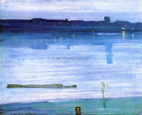 James McNeill Whistler Nocturne: Blue and Silver - Chelsea - Hand Painted Oil Painting