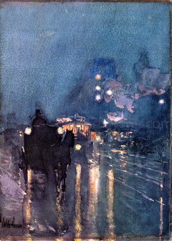 Frederick Childe Hassam Nocturne, Railway Crossing, Chicago - Hand Painted Oil Painting