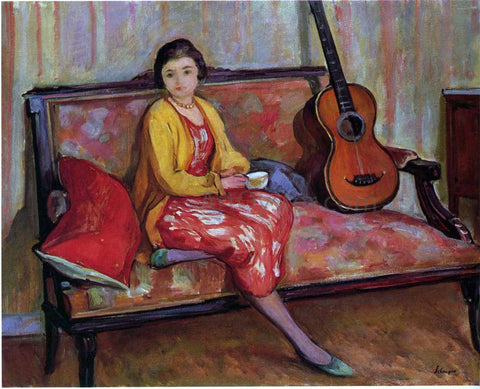 Henri Lebasque Nono and a Guitar - Hand Painted Oil Painting
