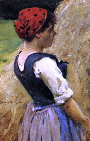 James Carroll Beckwith Normandy Girl - Hand Painted Oil Painting