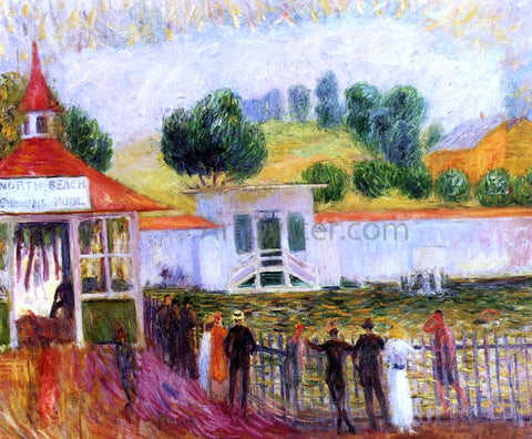 William James Glackens North Beach Swimming Pool - Hand Painted Oil Painting