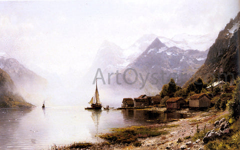 Anders Monsen Askevold Norwegian Fjord with Snow Capped Mountains - Hand Painted Oil Painting