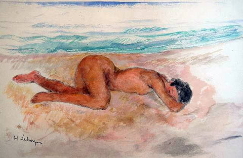 Henri Lebasque Nu allonge sur la plage - Hand Painted Oil Painting